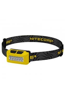 Фонарь налобный Nitecore NU10 (4xLED + RED LED, 160 люмен, 7 режимов, USB), желтый