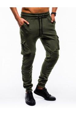 Spodnie męskie dresowe P747 - oliwkowe