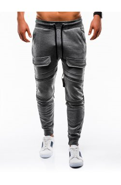 Spodnie męskie dresowe P821 - grafitowe