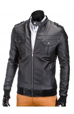 Куртка мужская кожаная K334 - черный