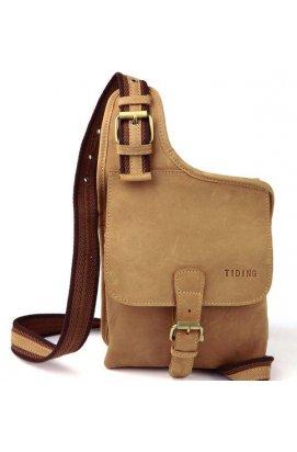 Кожаный рюкзак-мессенджер унисекс на одну шлейку Tiding 3032