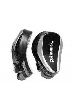 Лапы боксерские PowerPlay 3050 Чорно-Cірі PU [пара]