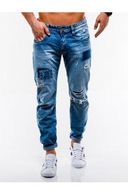 Spodnie męskie jeansowe P827 - niebieskie