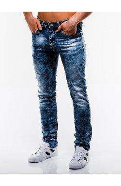 Spodnie męskie jeansowe P828 - niebieskie