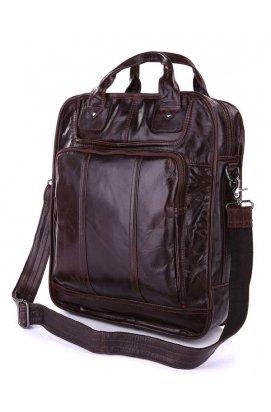 Вертикальная кожаная мужская сумка 7168C, трансформер