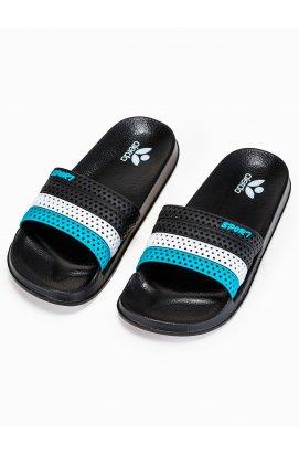 Men's pool sliders T287 - черный/голубой