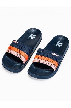 Men's pool sliders T287 - Синий/оранжевый