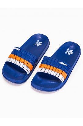 Men's pool sliders T287 - голубой/оранжевый