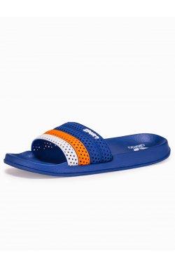 Klapki męskie T287 - niebieskie/pomarańczowe