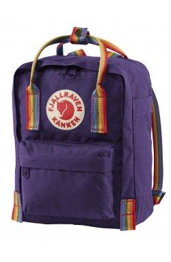 Kanken Rainbow Mini Purple/Rainbow Pattern