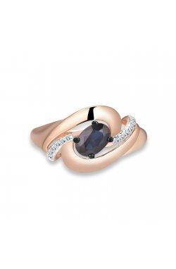 Кольцо из красного золота с бриллиантами и сапфиром
