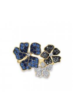 Кольцо из желтого золота с бриллиантами и сапфирами