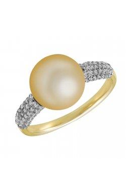Кольцо из желтого золота с бриллиантами и жемчугом (морским)