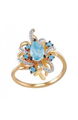 Кольцо из красного золота с бриллиантами и топазами