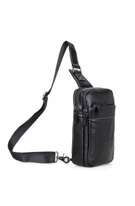 Стильный кожаный мини-рюкзак на одной шлейке бренда John McDee