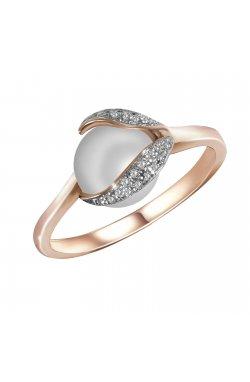 Кольцо из красного золота с бриллиантами и жемчугом (пресноводным)
