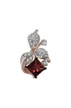 Кулон из красного золота с бриллиантами и гранатом (1696571)