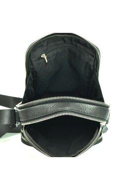 Черный кожаный мессенджер Tiding Bag M2605-1A