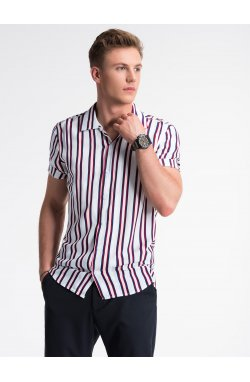 Men's shirt with short sleeves K481 - Белый/красный