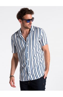 Men's shirt with short sleeves K481 - Белый/голубой