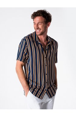 Men's shirt with short sleeves K481 - Синий/желтый