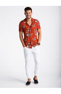 Men's shirt with short sleeves K483 - оранжевый красный