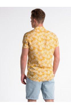 Koszula męska z krótkim rękawem K480 - ceglasta