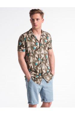Koszula męska z krótkim rękawem K482 - Бежевый