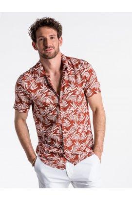Рубашка мужская с короткими рукавами K480 - оранжевый красный