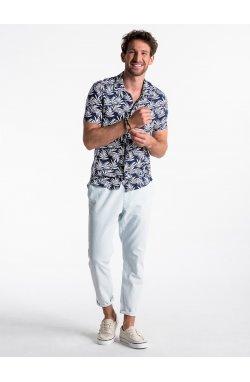 Koszula męska z krótkim rękawem K480 - Синий