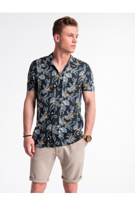 Рубашка мужская с короткими рукавами K482 - черный/Белый