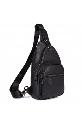 Компактный мужской кожаный рюкзак на одну шлейку JD4008А John McDee Черный