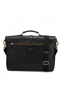 Представительный черный мужской кожаный портфель LA501 LIMARY