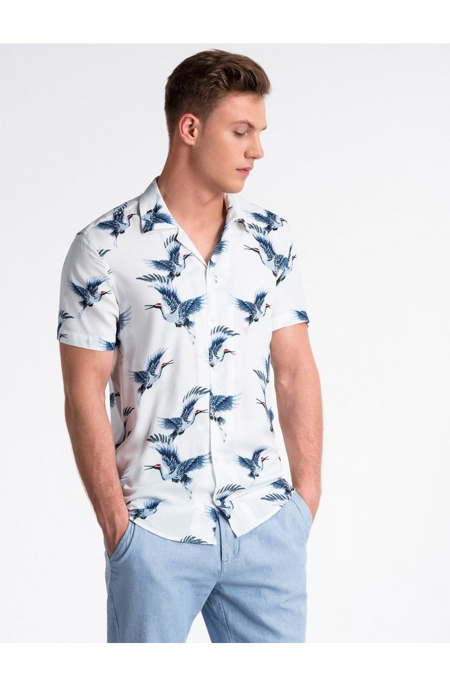 Men's shirt with short sleeves K483 - Белый