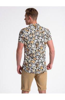 Рубашка мужская с коротким рукавом K485 - Черный