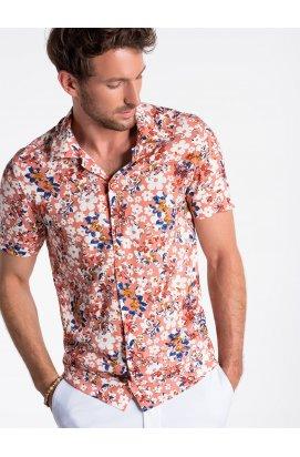 Men's shirt with short sleeves K485 - розовый