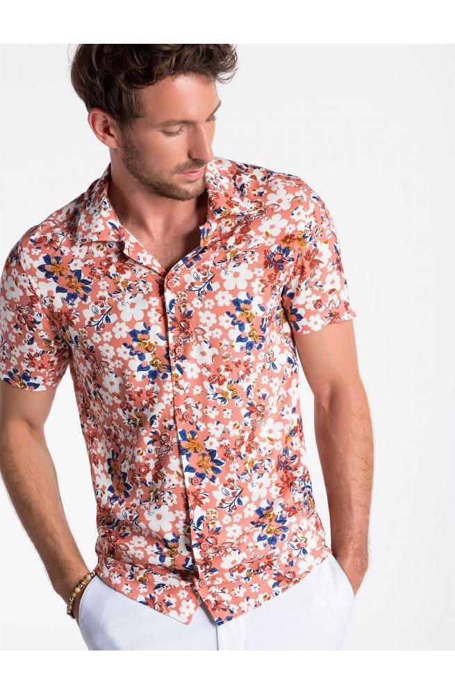 Рубашка мужская с коротким рукавом K485 - Розовый