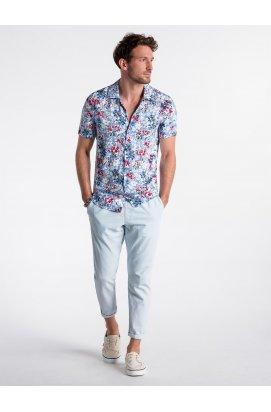 Рубашка мужская с короткими рукавами K485 - светло - голубой