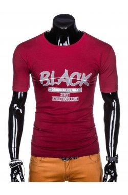 Футболка мужская с надписью F1056 - Темно- красный
