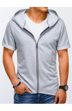 Bluza męska rozpinana z krótkim rękawem B960 - Серый