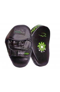Лапы боксерские PowerPlay 3051 Чорно-Зеленые PU [пара]