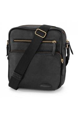 Эксклюзивная мужская кожаная сумка через плечо черного цвета LA111 LIMARY