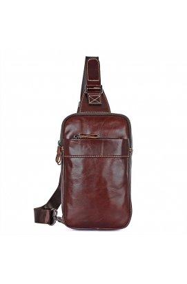 Кожаный мини-рюкзак на одной шлейке бренда John McDee Коричневый