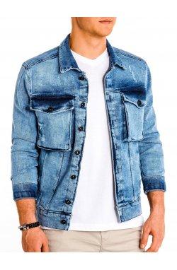 Kurtka męska przejściowa jeansowa C403 - jasny jeans