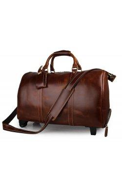 Дорожная кожаная сумка John McDee 7077LB Коричневый