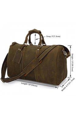 Кожаная дорожная сумка John McDee 7077R Коричневый