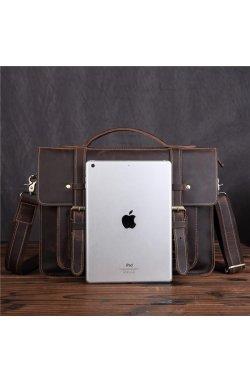 Брутальный кожаный портфель, цвет коричневый, Bexhill bx010 Коричневый