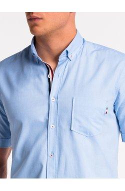 Рубашка мужская с коротким рукавом K489 - Голубой