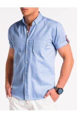 Рубашка мужская с коротким рукавом K489 - niebieska