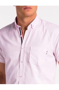 Рубашка мужская с коротким рукавом K489 - pudrowy róż